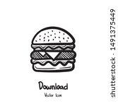 hand drawn burger icon vector.... | Shutterstock .eps vector #1491375449
