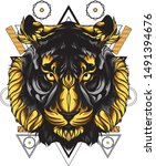tiger head with sacred geometry | Shutterstock .eps vector #1491394676