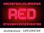red neon alphabet font. bright... | Shutterstock .eps vector #1491394769