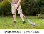 A Man Is Cleaning His Garden.
