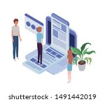 group of people with laptop and ... | Shutterstock .eps vector #1491442019