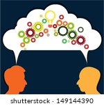 speech bubble with gears and... | Shutterstock .eps vector #149144390
