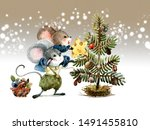 Christmas Scene  Mice Decorate...