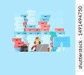 large amount of work vector... | Shutterstock .eps vector #1491494750