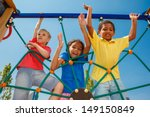 three friends climbing the net | Shutterstock . vector #149150849