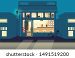 street cafeteria at night... | Shutterstock .eps vector #1491519200