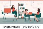 businesswomen in formal suit... | Shutterstock .eps vector #1491549479