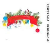 watercolor painted christmas... | Shutterstock . vector #1491583586