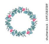 watercolor hand painted wreath... | Shutterstock . vector #1491583589