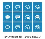 speech bubble icons on blue...