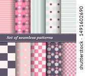 set of trendy seamless floral... | Shutterstock .eps vector #1491602690