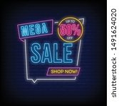 mega sale up to 50  off shop... | Shutterstock .eps vector #1491624020