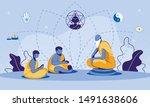 cartoon old buddhist monk on... | Shutterstock .eps vector #1491638606