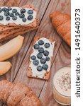 tasty croissants breakfast... | Shutterstock . vector #1491640373