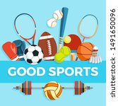 set of sport balls and gaming... | Shutterstock . vector #1491650096