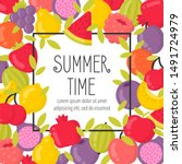 summer poster with bright...   Shutterstock . vector #1491724979