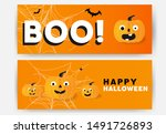 set halloween pattern with boo... | Shutterstock .eps vector #1491726893