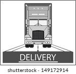 big heavy truck on road - delivery symbol  - stock vector