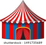 circus tent in red and blue... | Shutterstock .eps vector #1491735689