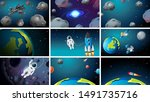large set of space scenes... | Shutterstock .eps vector #1491735716