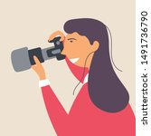 a young girl photographs with a ... | Shutterstock .eps vector #1491736790