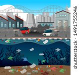 water pollution with plastic... | Shutterstock .eps vector #1491755246
