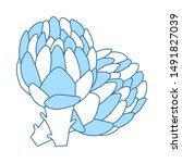 artichoke icon. thin line with... | Shutterstock .eps vector #1491827039