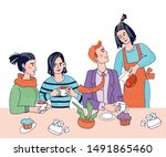 rest and leisure time in... | Shutterstock .eps vector #1491865460
