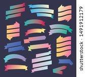 set of flat gradient ribbon... | Shutterstock .eps vector #1491912179