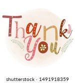 thank you vectorwith heart and... | Shutterstock .eps vector #1491918359