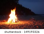 inviting campfire on the beach... | Shutterstock . vector #149193326
