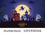 halloween houses under the... | Shutterstock .eps vector #1491940346
