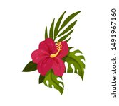 Red Tropical Flower. Vector...