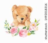 cute bear and flower wreath...   Shutterstock .eps vector #1492018316