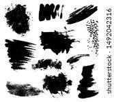 set of black paint  ink...   Shutterstock .eps vector #1492042316