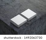two stacks of white square...   Shutterstock . vector #1492063730