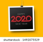 happy new year 2020 text design.... | Shutterstock .eps vector #1492075529