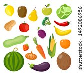 isolated food items set  ... | Shutterstock .eps vector #1492086956