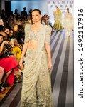Small photo of Manhattan, New York, USA - August 27, 2019: Fashion Parade at Christie's. South Asian designs of Ali Xeeshan, Delhi Vintage Co., Elan by Khadijah Shah, Faiza Samee, Kamiar Rokni, and Rabani & Rakha.