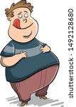 big fat guy rubbing his belly... | Shutterstock .eps vector #1492128680