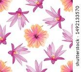 pink hibiscus. purple hatiora.... | Shutterstock .eps vector #1492133570