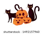pumpkin cat happy halloween... | Shutterstock .eps vector #1492157960