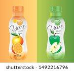 orange juice bottle and apple... | Shutterstock .eps vector #1492216796
