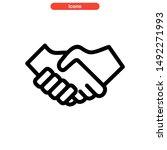 handshake icon isolated sign... | Shutterstock .eps vector #1492271993