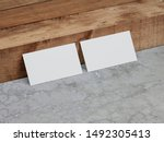 two white business cards mockup ...   Shutterstock . vector #1492305413