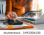 hand man doing finances and... | Shutterstock . vector #1492306130