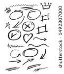 hand drawn set. arrow  line... | Shutterstock .eps vector #1492307000