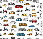 kids pattern with cars. vector... | Shutterstock .eps vector #1492317200