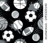 seamless sport pattern with... | Shutterstock .eps vector #1492320140