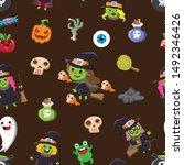 halloween holiday seamless...   Shutterstock .eps vector #1492346426
